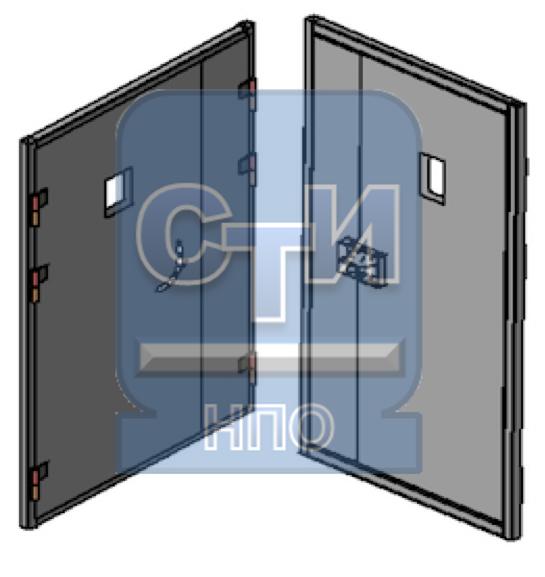 Дверь металлическая усиленная, со смотровым окном, замком камерного типа двустворчатая