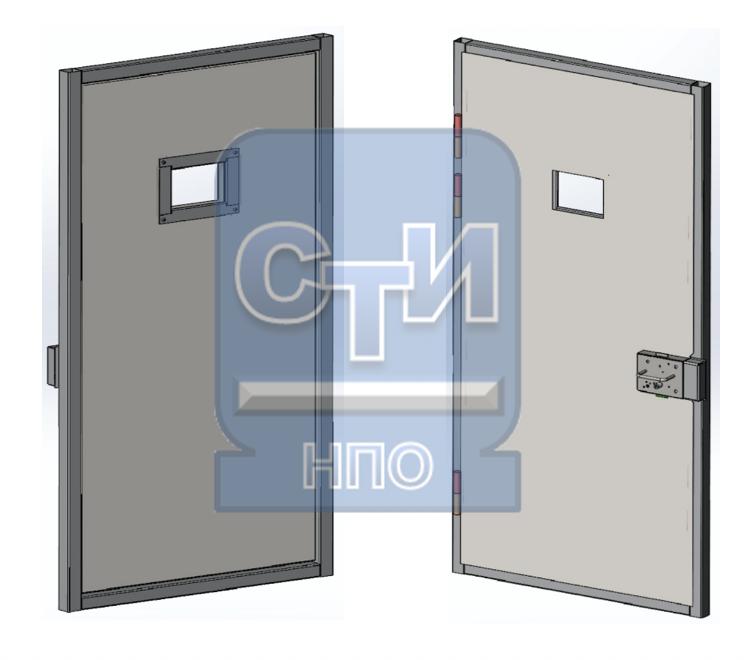 Блок дверной металлический усиленный, со смотровым окном, замком камерного типа одностворчатый