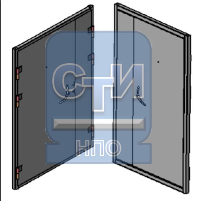 Блок дверной металлический усиленный двустворчатый, с глазком, замком механическим