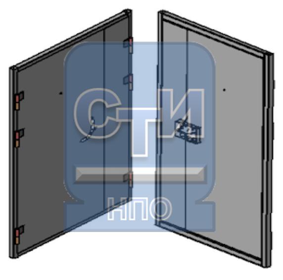 Блок дверной металлический усиленный с глазком, замком камерного типа, двустворчатый