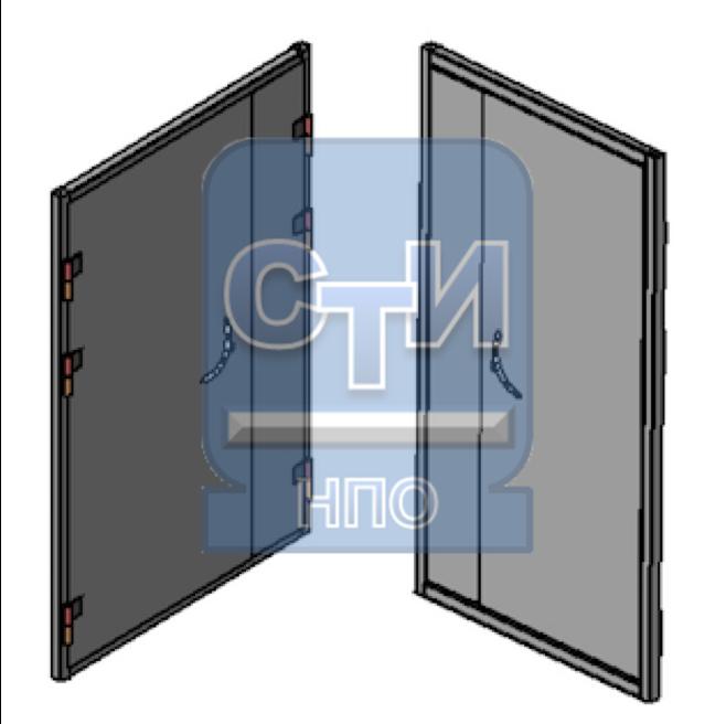 Блок дверной металлический усиленный двустворчатый, с замком механического типа (замок типа «Цербер»)