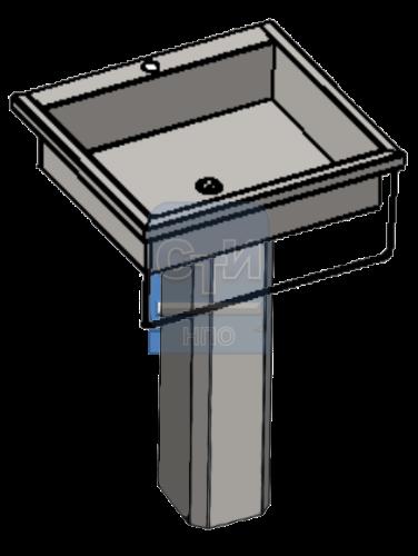 СТИ.РНП.03 - Раковина настенная с пъедесталом антивандальная с держателем для полотенца