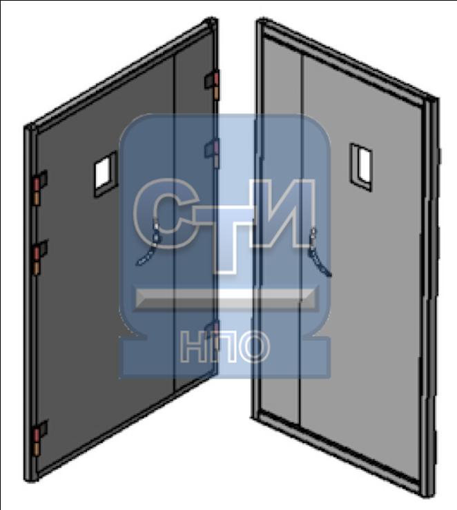 """СТИ.БДУ.ОЗМ.02.000 - Блок дверной металлический усиленный, со смотровым окном, двустворчатый (замок типа """"Цербер"""")"""