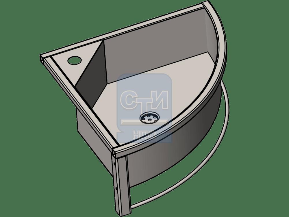 СТИ.РНН.04 - Раковина настенная угловая антивандальная с держателем для полотенца