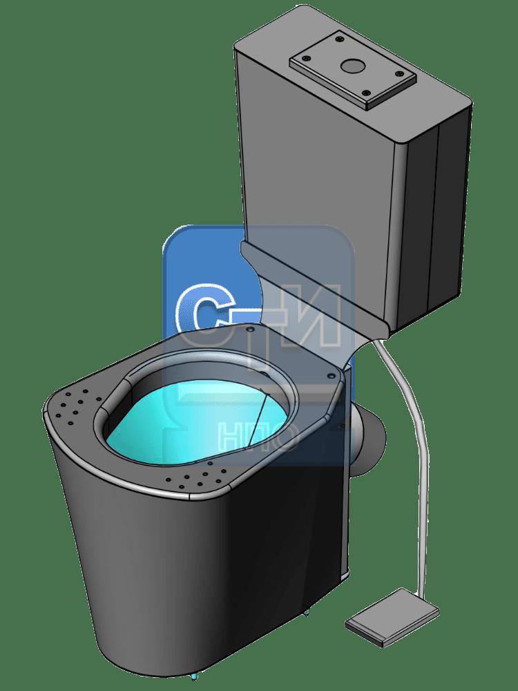СТИ.УНБ.02 - Унитаз антивандальный из нержавеющей стали с бачком с педальным спуском воды