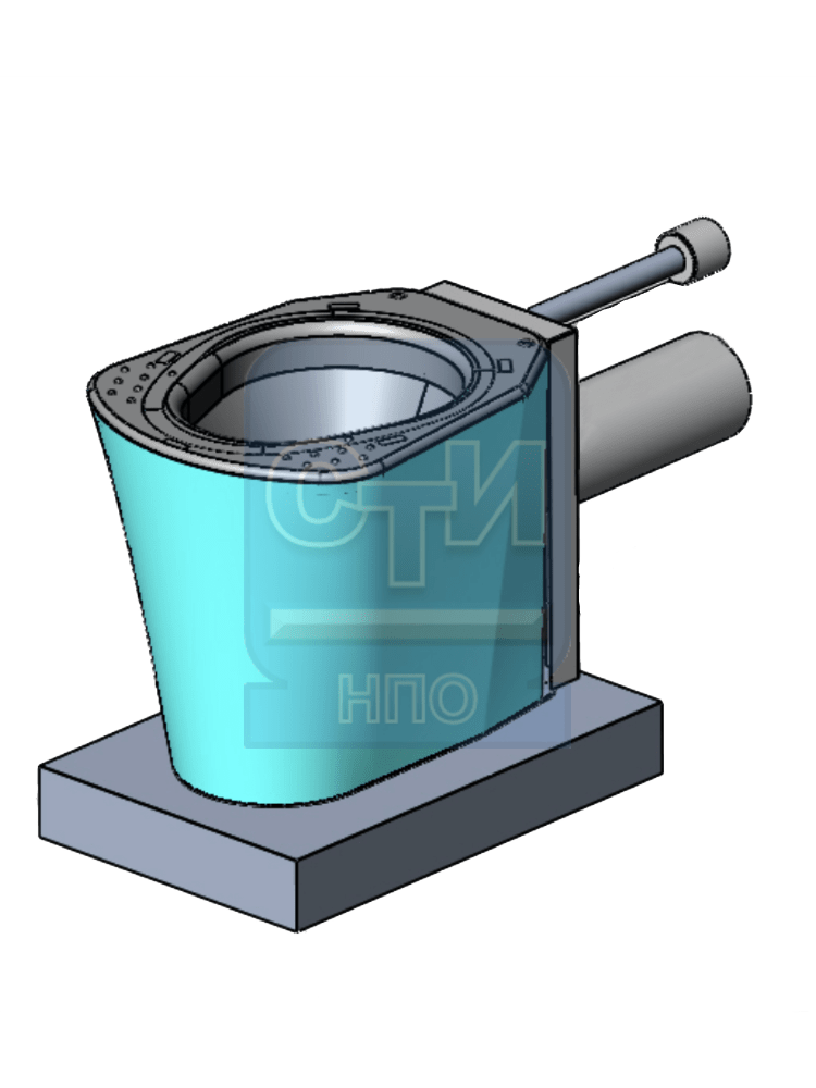 СТИ.УН.03 - Унитаз антивандальный из нержавеющей стали без бачка с подключением под инсталляцию с креплением к полу
